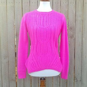Ted Baker Hot Pink Sweater Sz 2 Cable Knit Pullove